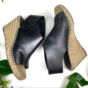Celine Paris leather espadrilles sling back wedge